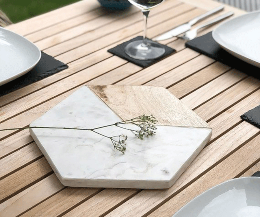 #5 Home Decor Gifts for her: Marble & Mango wood hexagonal serving platter