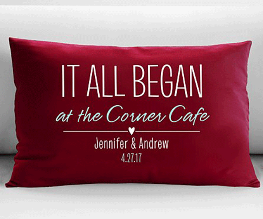 #5 Unique Engraved & Personalized Gifts for her: A Where It all began personalized pillow
