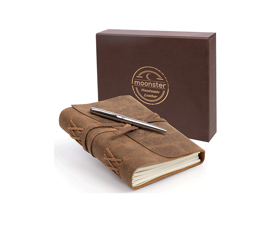 #1 hobby & crafts gifts for her: Handmade Leather Writing Journal
