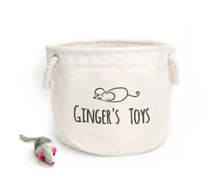 #4 unique gifts for cat lovers: Personalized Cat Toys Basket