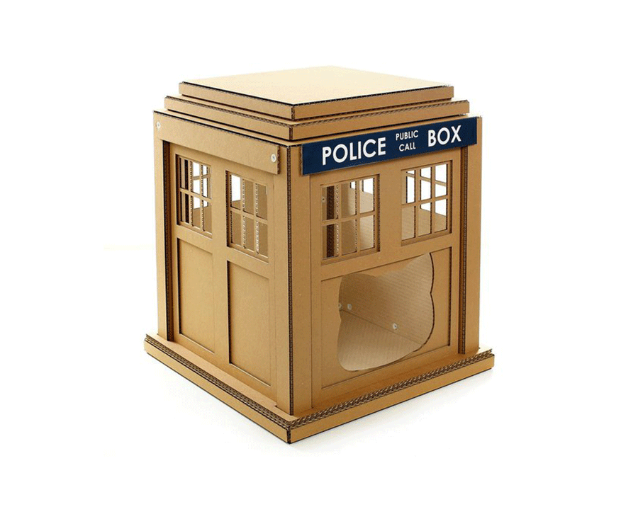 #3 uniqie gifts for cat loves: Dr Who Cardboard Cat House