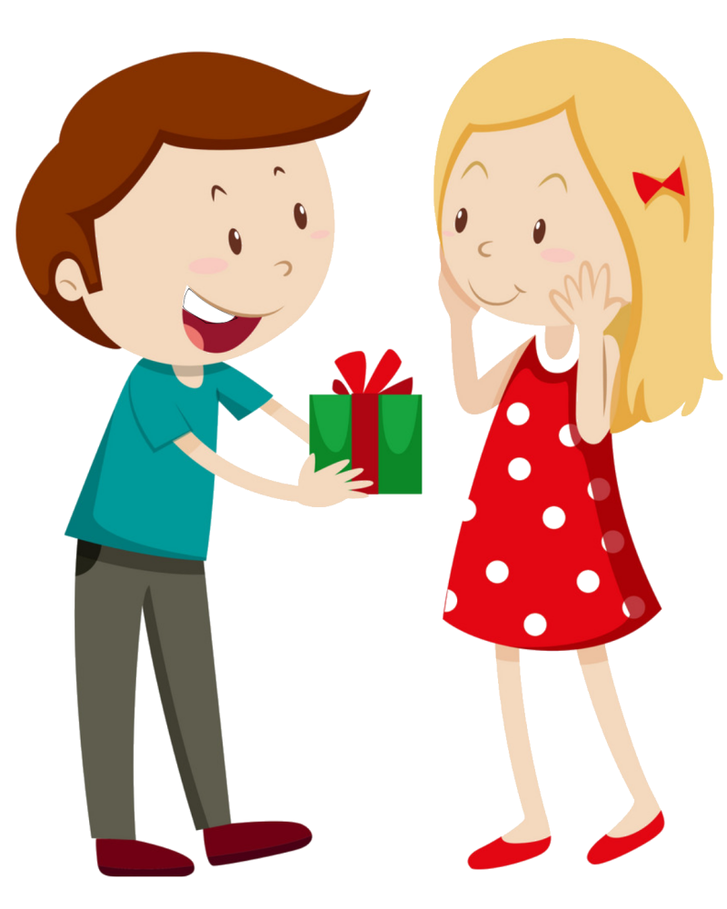 Cartoon step 2 of the gift hacking technique. Tell her why you bought her this gift