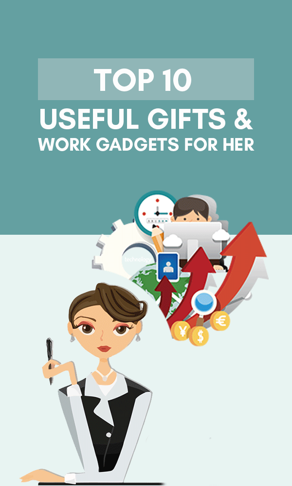 Title Infographic for our top 10 useful gifts & work gadgets for women