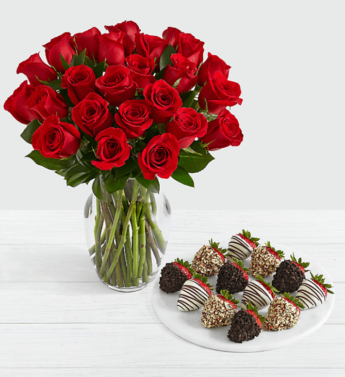 A Bouquet with Red Roses: A stylish flower classic for Valentines day