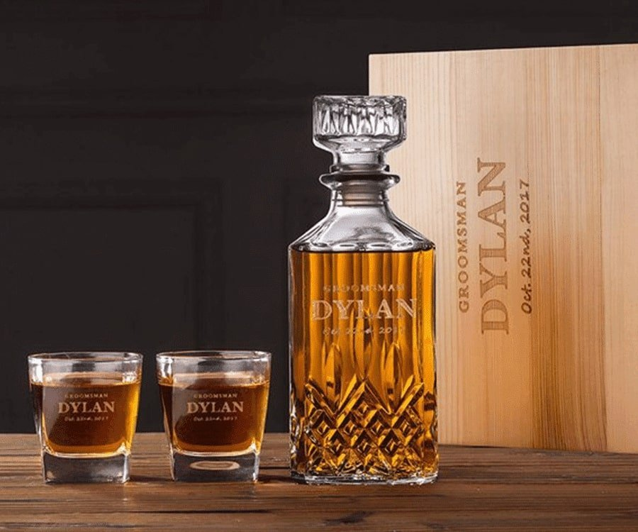 Personalized Whiskey Decanter and matching glasses