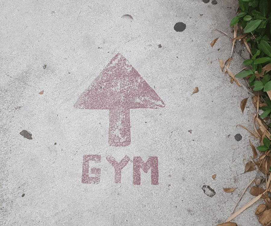 Arrow on the floor pointing to the gym