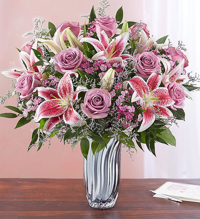 A Bouquet of Stargazer Lilies & Pink Roses: The best flowers to give on Valentines Day