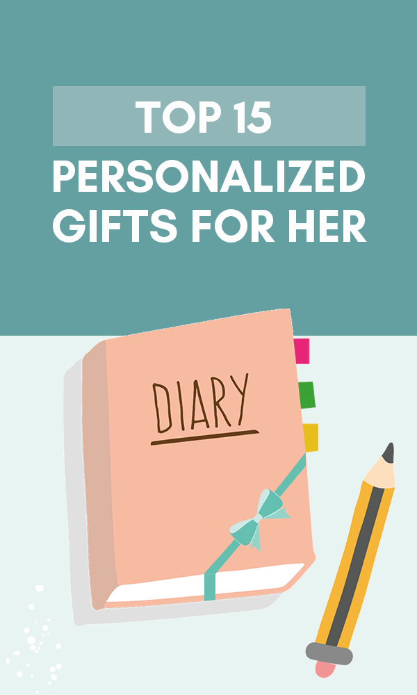 Title Infographic about the top 15 great engraved & personalized gifts for her