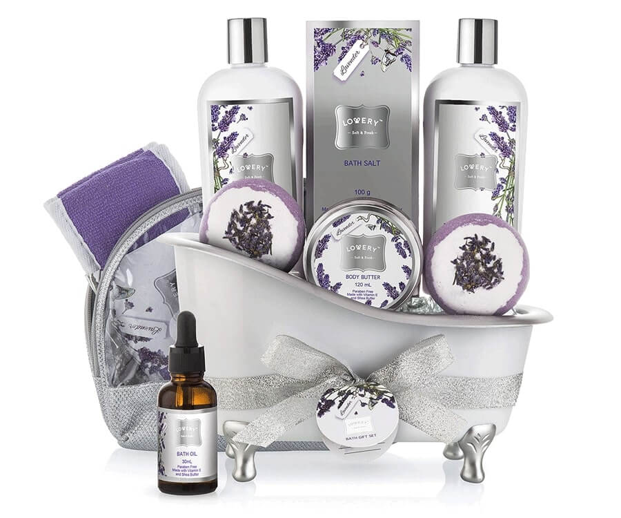 #26 relaxation gifts for her: Home Spa Gift Basket