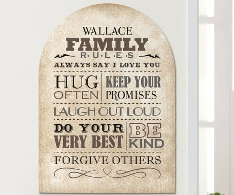 #7 Great Sentimental Gifts for Her: family rules wall sign