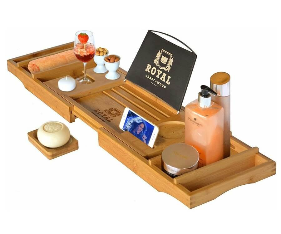#23 relaxation gifts for women: Luxury Bath Tray