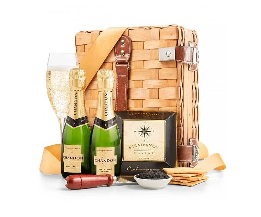 #9 classic gifts for women: Champagne & Caviar Gift Basket