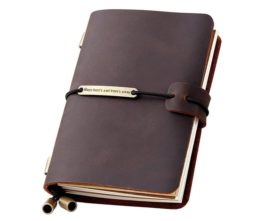 #28 unique travel gifts for men: Leather Journal
