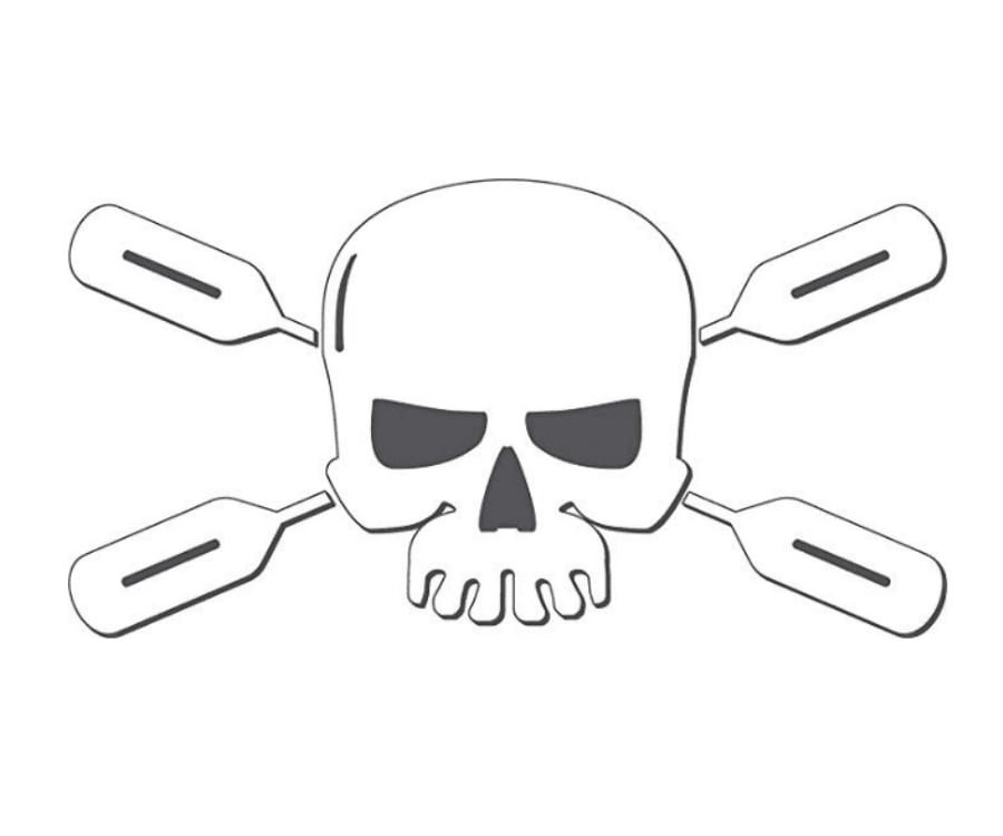 #27 best gifts for kayakers: Kayaker Paddle Skull Sticker