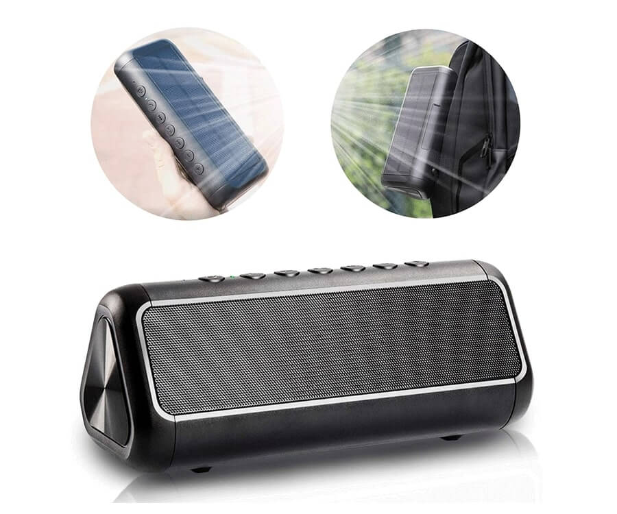 #20 gifts for women who like to travel: solar powered speaker
