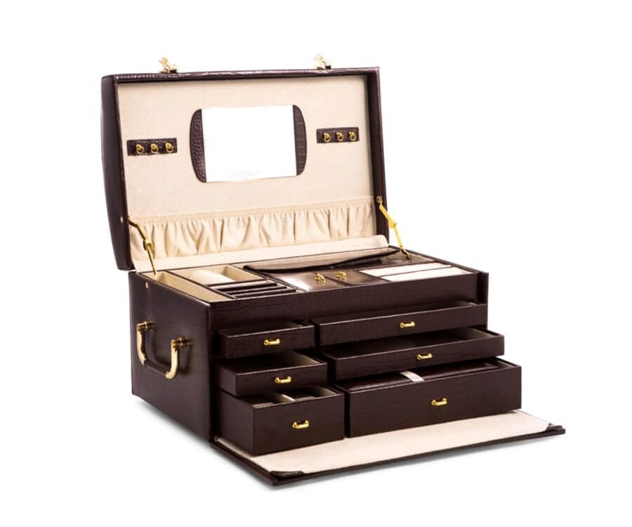 #28 over the top luxury gifts for her: Croc Leather Jewelry Chest