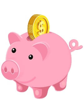 A piggy bank used to highlight how much you should spend on a gift for a women