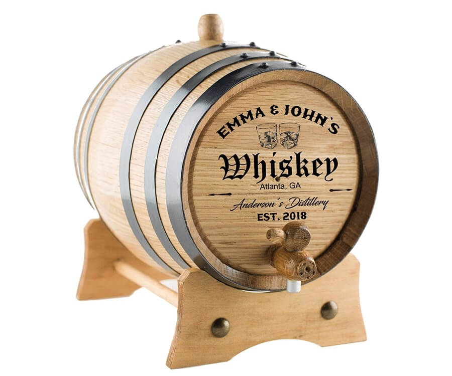 #38 Personalized Gifts for Him: customer engraved whiskey barrel