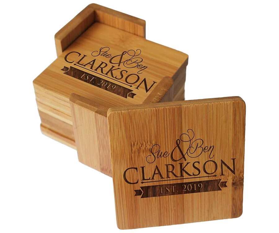 #13 Great Sentimental Gifts for Her: A High Quality engraved Bamboo Coaster