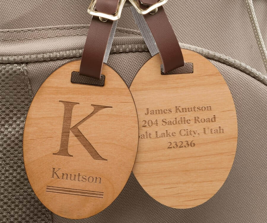 #33 Personalized Gifts for Him: engraved wooden luggage tags