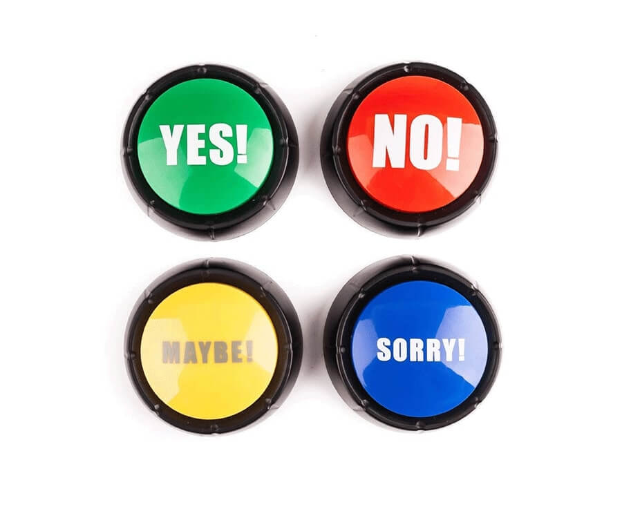 #17 secret santa ideas for work: yes no maybe sorry buttons