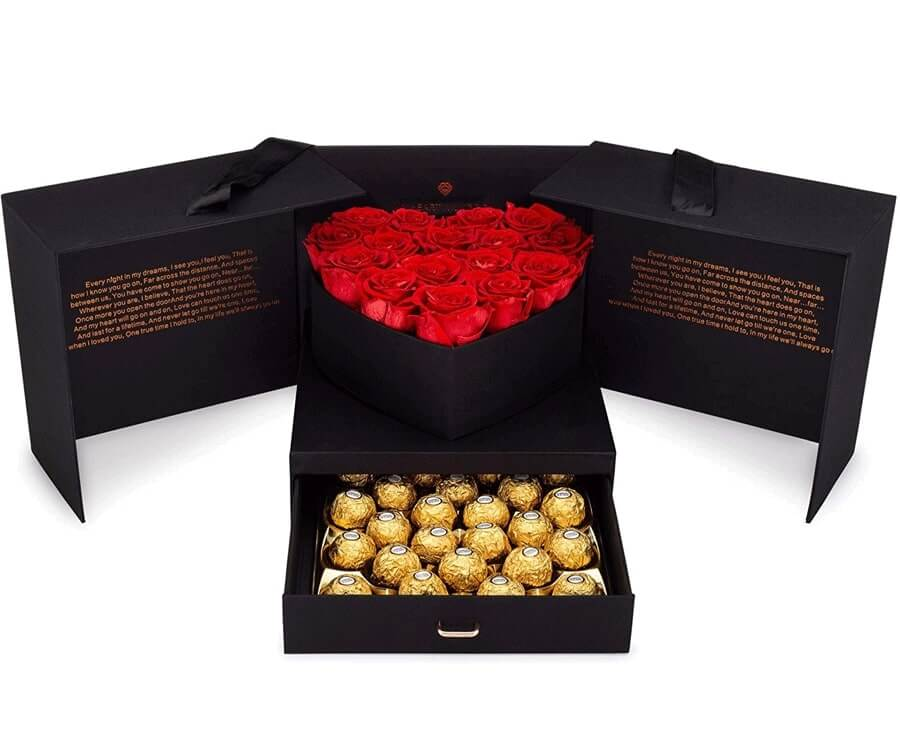 #25 best valentines day gifts for her: roses & chocolates gift box