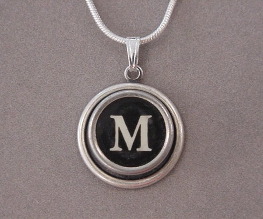 #11 eco friendly gifts for her: Typewriter Key Initial Necklace