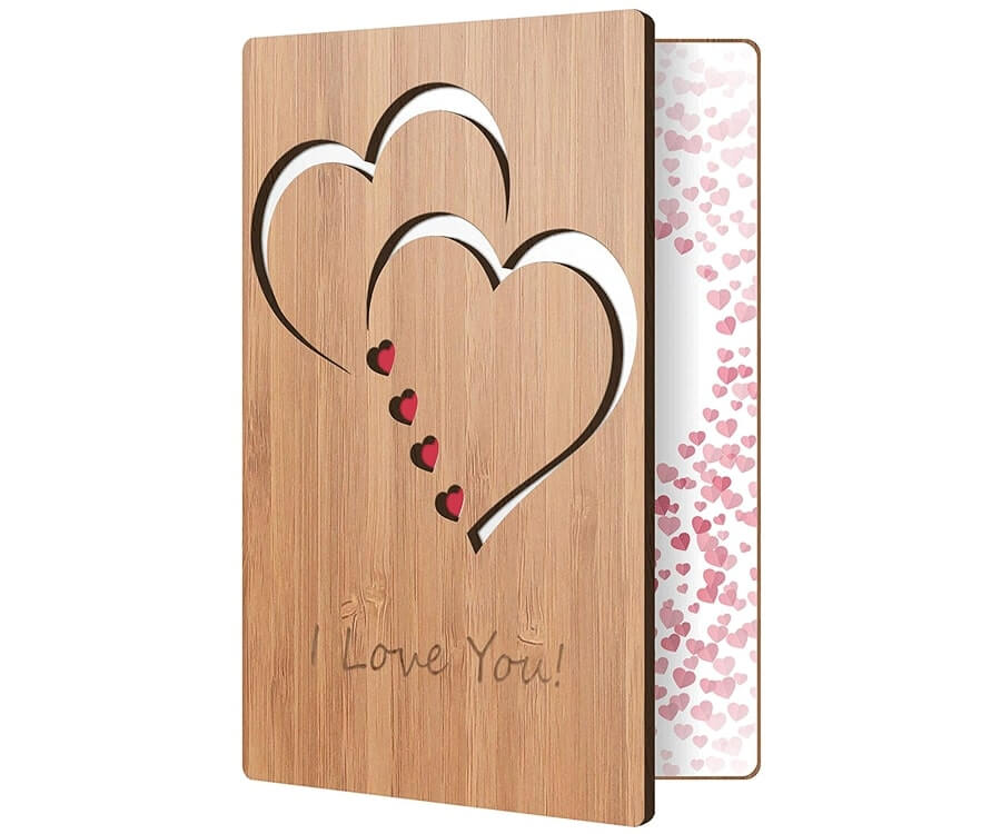 #23 best valentines day gifts for her: bamboo Valentines gift card