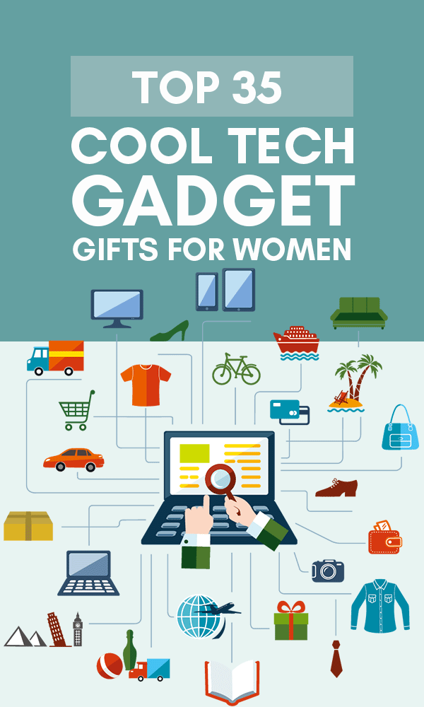 Title Infographic for our top 35+ cool tech gifts for women