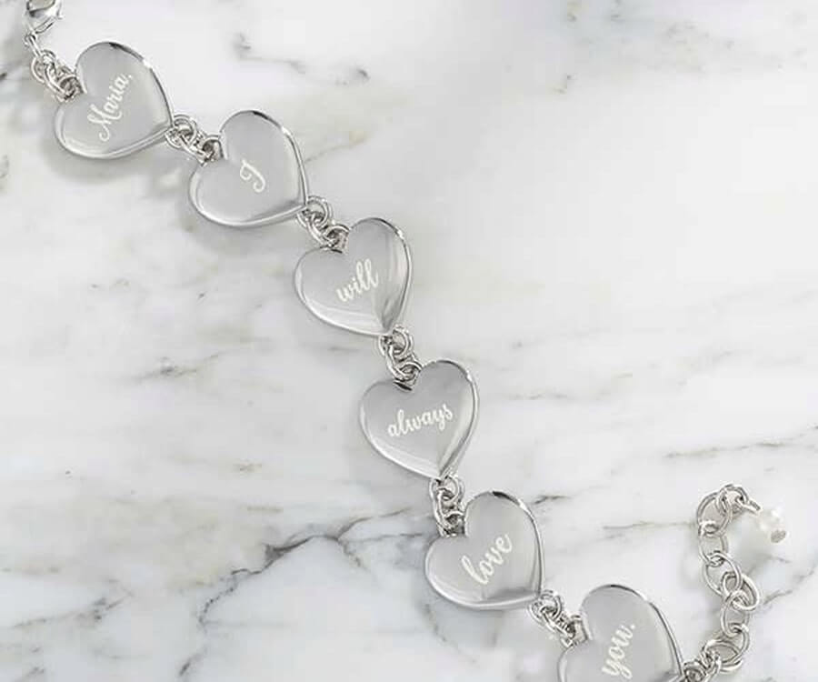 #31 best valentines day gifts for her: engraved hearts bracelet
