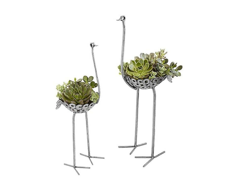 #4 Eco friendly gifts for her: recycled metal ostrich planter