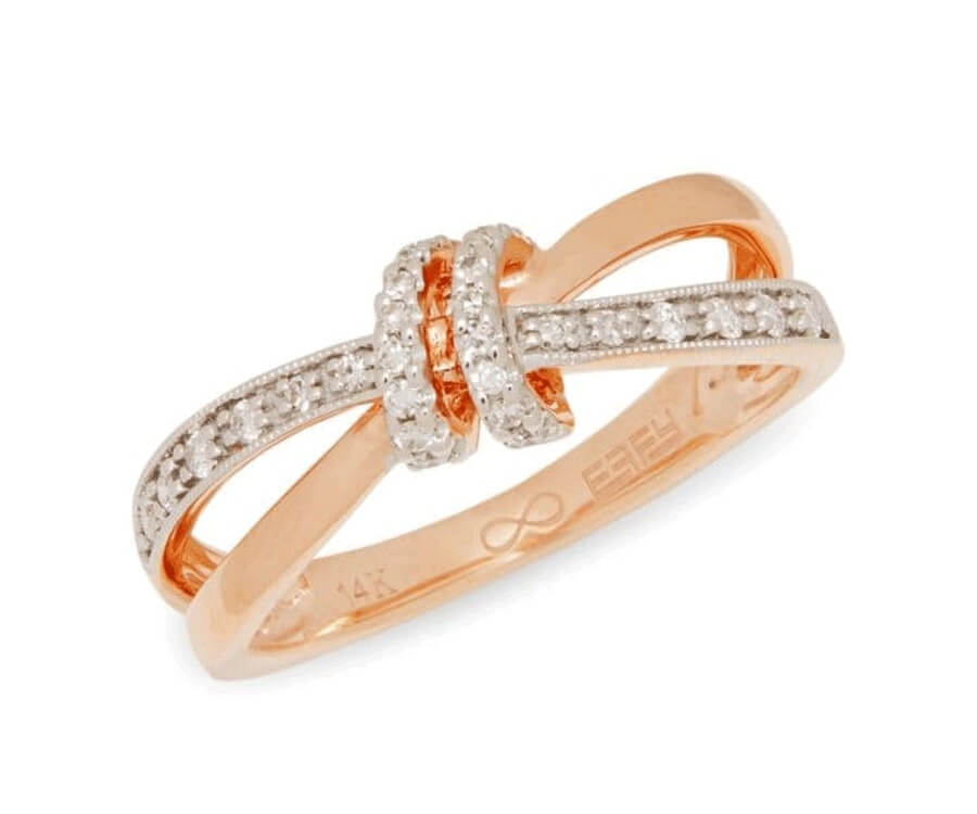 #18 best valentines day gifts for her: rose gold & diamonds knot ring