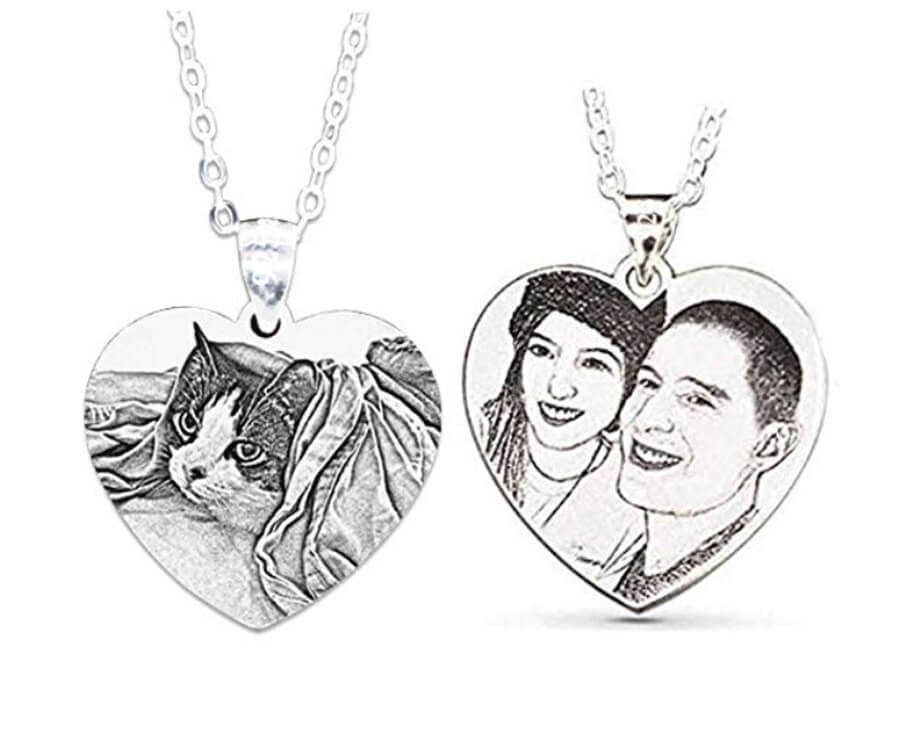 #15 cool gifts for sketch artists: sketched photo necklace