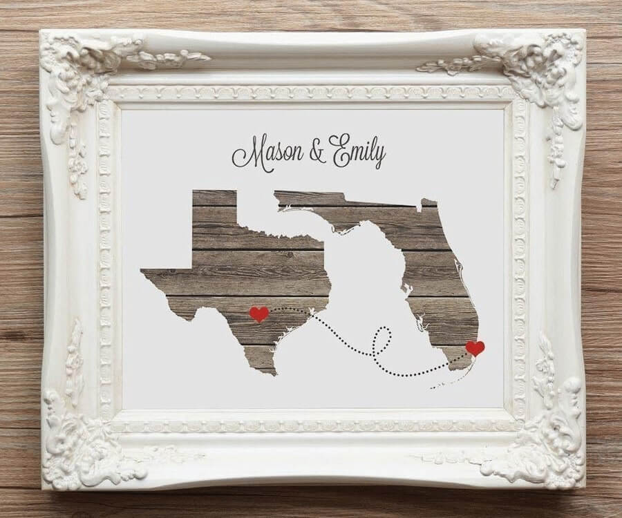 #9 best gifts for long distance boyfriends: any 2 states wall art