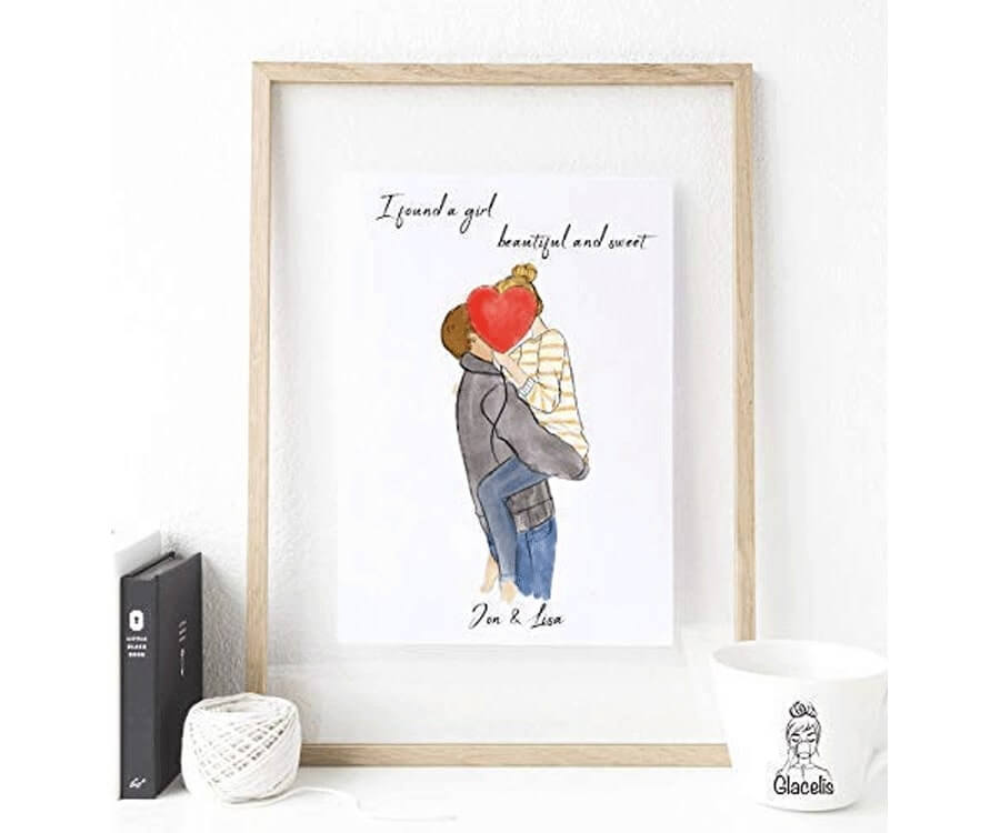 #16 best gifts for long distance boyfriends: personalized couples art